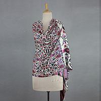 Silk shawl, 'Pink Paisley Garden'