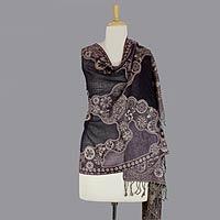 Jamawar wool shawl, 'Lavender Extravaganza'