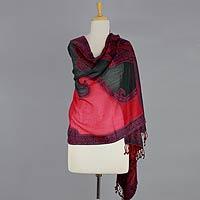 Jamawar wool shawl, 'Bold Extravaganza'