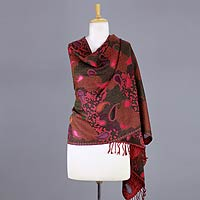 Jamawar wool shawl, 'Modern Delight'
