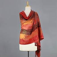 Jamawar wool shawl, 'Indian Sunset'