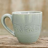 Celadon ceramic mug, 'Blue Elephant Walk'