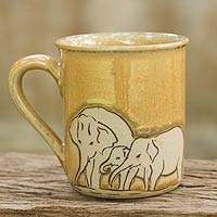 Celadon ceramic mug, 'Yellow Elephant Family'