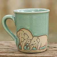 Celadon ceramic mug, 'Blue Elephant Family'