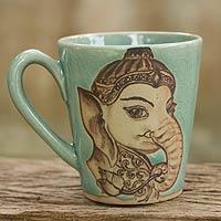 Celadon ceramic mug, 'Baby Ganesh'