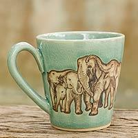 Celadon ceramic mug, 'Cozy Family'