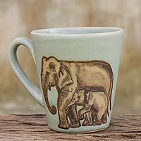 Celadon ceramic mug, 'Siamese Elephants'