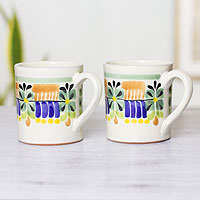 Majolica ceramic mugs, 'Acapulco' (pair)