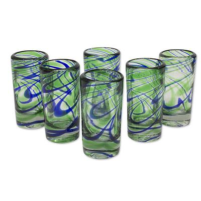 Hand Blown Blue and Green Tequila Shot Glass, 'Elegant Energy' (Set of 6)