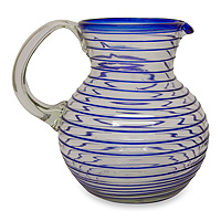 Blown glass pitcher, 'Blue Spiral'
