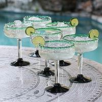 Margarita glasses, 'Eco Happy Hour' (set of 6)