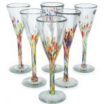 Handblown Glass Cocktail Champagne Flutes, 'Confetti' (Set of 6)
