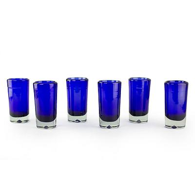"""Hand Blown Mexican Tequila Shot Glasses, 'Pure Cobalt"""" (Set of 6)"""