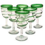 Handblown Glass Striped Wine Goblets, 'Green Spiral' (Set of 6)