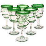 Handblown Glass Striped Wine Goblets, 'Green Spiral' (Set of 6)