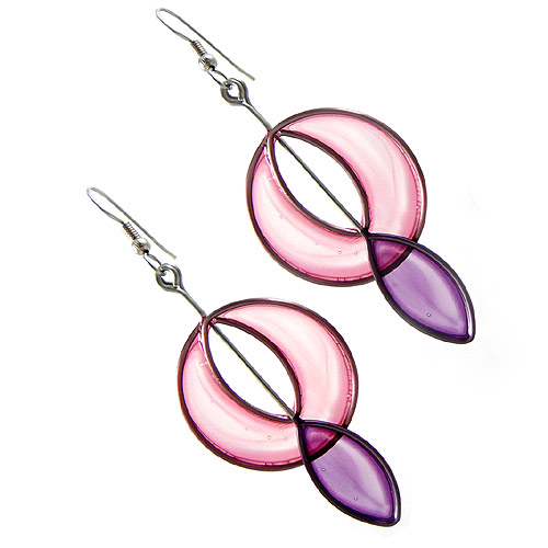 Kinetic Sculpture Inspired Earrings: Pink Purple Surround