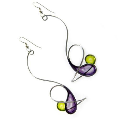 Kinetic Sculpture Inspired Earrings: Purple Green Orbit