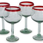 Blown glass wine glasses, 'Ruby Globe' (set of 4)