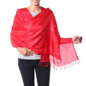 Varanasi silk shawl, 'Woman in Red'