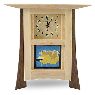 Contemporary Maple Mantel Clock with Grosbeak Trio Tile
