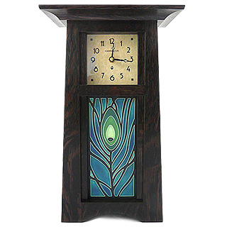 Tall Craftsman Clock with Peacock Tile