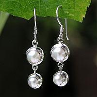 Pearl dangle earrings, 'Two Full Moons'