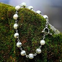 Pearl link bracelet, 'Sterling Contrasts'