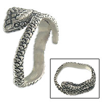 Sterling silver wrap ring, 'Silver King Cobra'