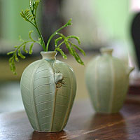Ceramic vases, 'Frangipani Frogs' (pair)