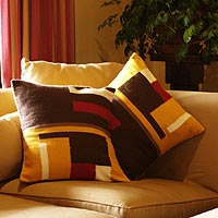 Alpaca cushion covers, 'Wari Colors' (pair)