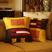 Alpaca cushion covers, 'Wari Art' (pair)