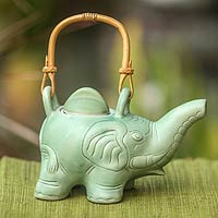 Ceramic teapot, 'Elephant Green Tea'