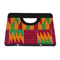 Cotton kente clutch bag, 'Ashanti Colors'