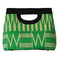 Cotton kente clutch bag, 'Morning Dew'