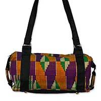 Cotton kente shoulder bag, 'Ashanti Labyrinth'