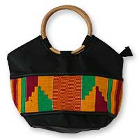 Cotton kente tote handbag, 'Ashanti Treasures'