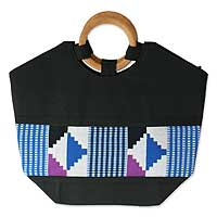 Cotton kente tote bag, 'Celestial Harmony'