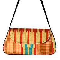 Cotton kente shoulder bag, 'Glamorous Orange'