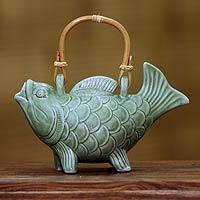 Ceramic teapot, 'Lucky Koi'
