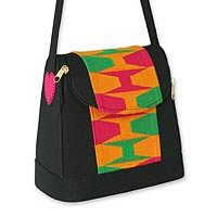 Cotton kente shoulder bag, 'Good morning'