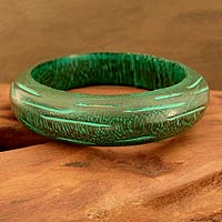 Wood bangle bracelet, 'Empress'