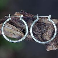 Sterling silver hoop earrings, 'Moonlit Goddess' (medium)