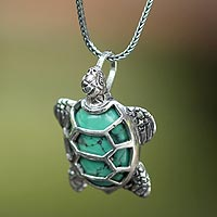 Sterling silver pendant necklace, 'Chelonia Turtle'