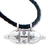 Sterling silver locket necklace, 'Message in a Bottle'