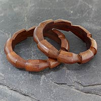 Wood bangle bracelets, 'Forest Suns' (pair)