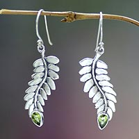 Peridot dangle earrings, 'Sweet Leaf'