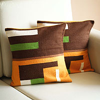 Alpaca blend cushion covers, 'Andean Moon' (pair)