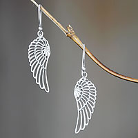 Sterling silver dangle earrings, 'Wings'