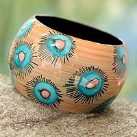Wood bangle bracelet, 'Blue Anemone'