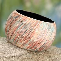 Wood bangle bracelet, 'Peach Breeze'